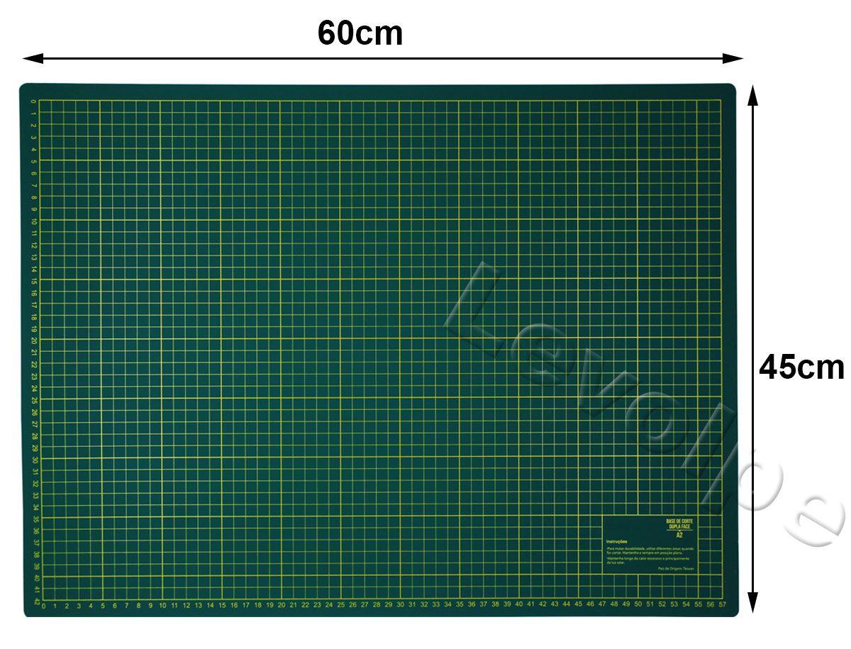 Kit Base De Corte A2 45x60 + Régua 5x60 + Cortador 45 mm Patchwork