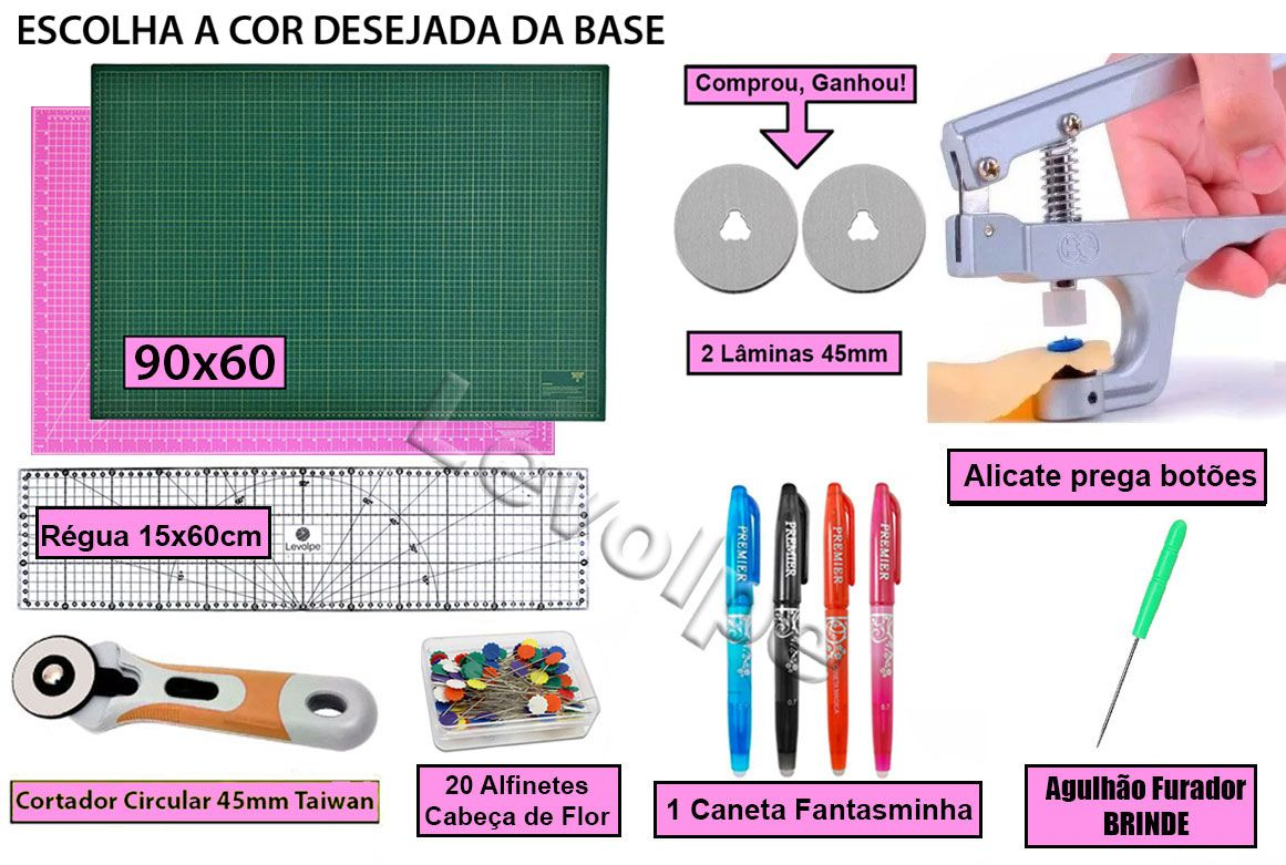 Kit Base De Corte 90x60 + Régua 15x60 + Alicate + Cortador 45mm