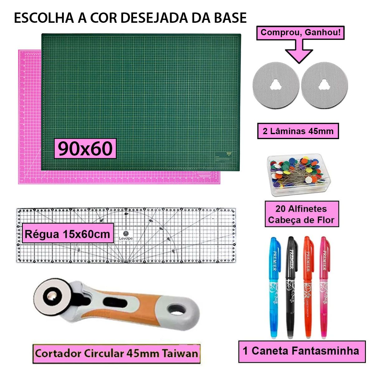 Kit Base De Corte A1 90x60 + Regua 15x60 + Cortador 45mm