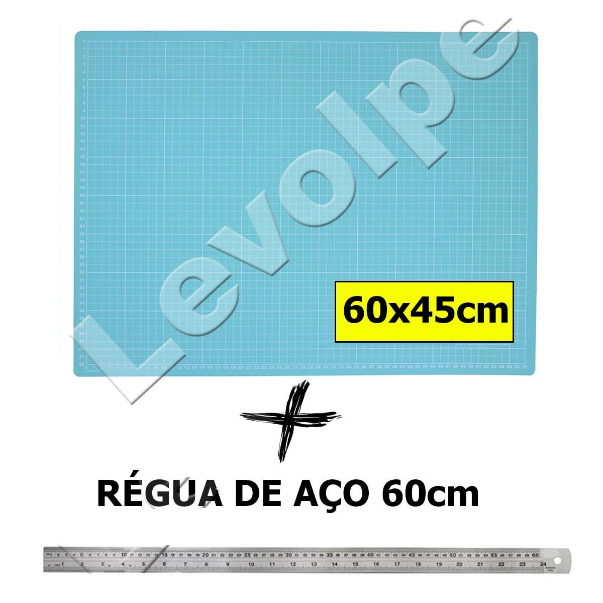 Kit Base De Corte A2 60x45 Azul Turquesa + Régua 60cm Aço