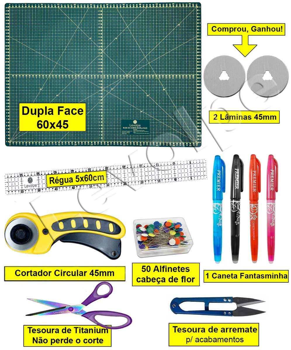 Kit Base De Corte A2 60x45 + Cortador 45 Mm + Réguas 5x60 + Tesouras