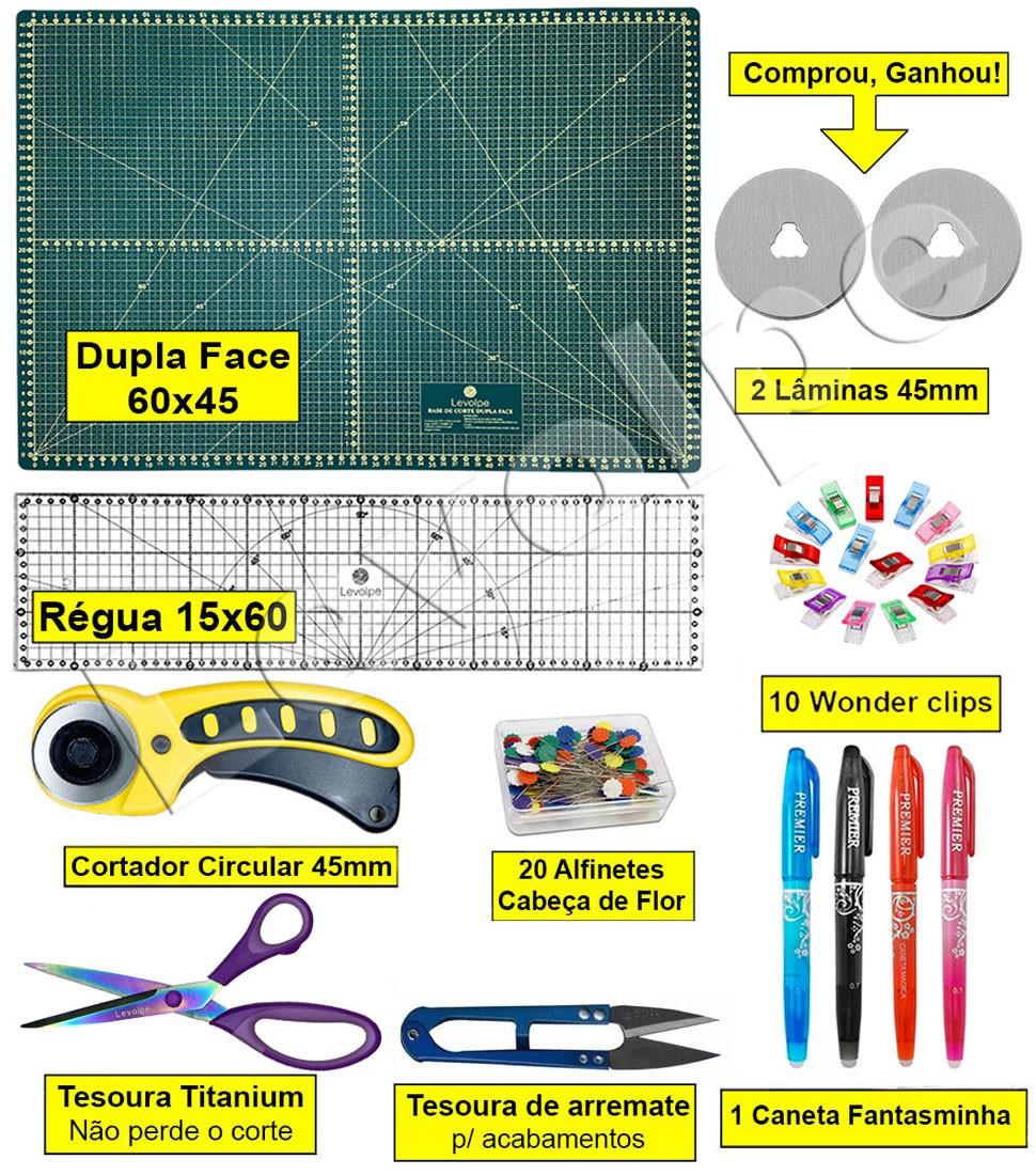 Kit Base De Corte A2 60x45 +régua 15x60 + Cortador 45mm + 10 Prendedor