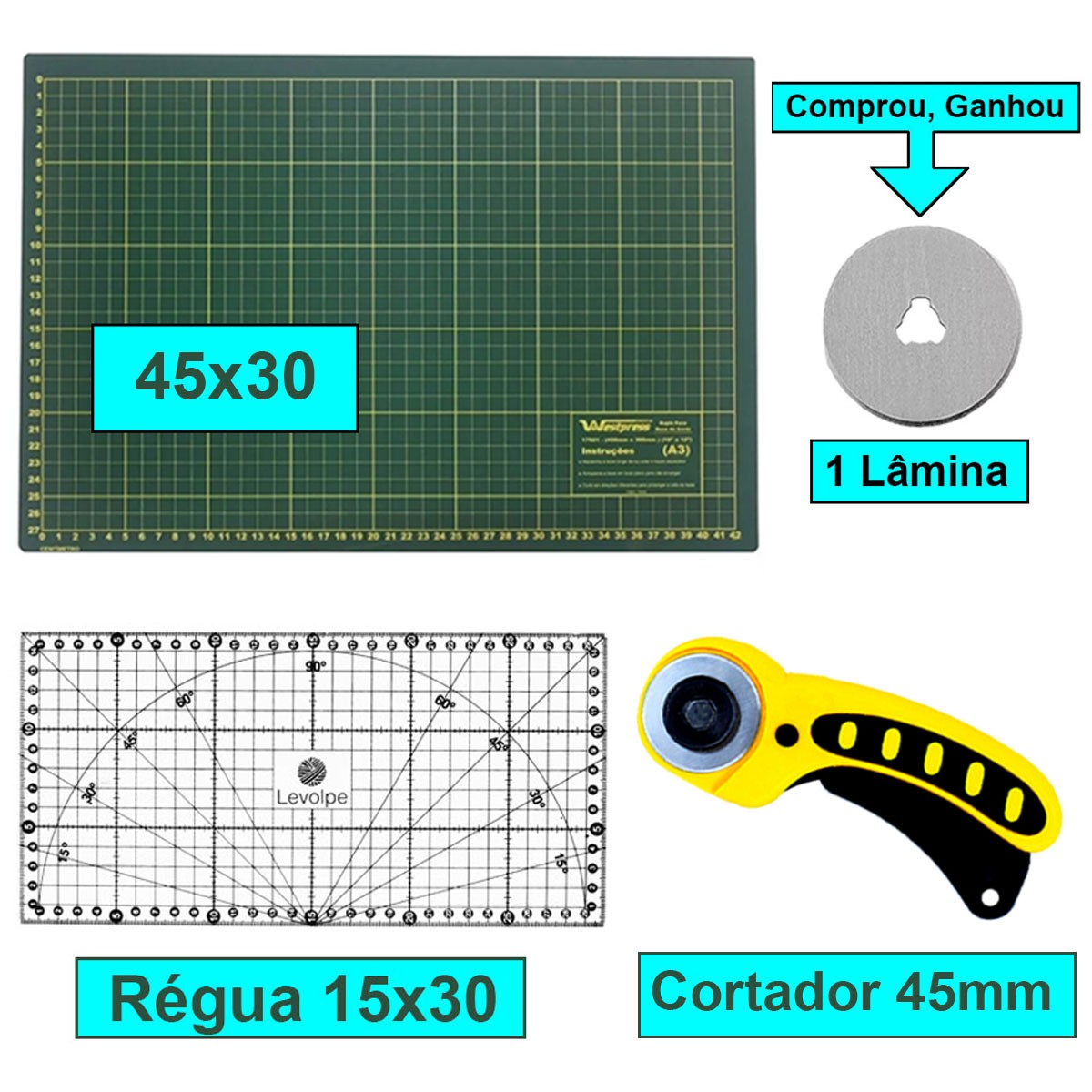 Kit Base De Corte A3 45x30 + Régua 15x30 + Cortador 45mm