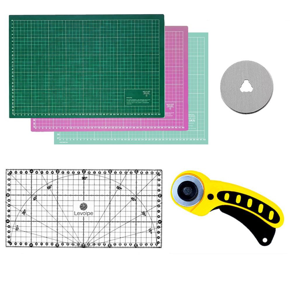 Kit Base De Corte A3 45x30 Régua 15x30 Cortador 45mm Patchwork Scrapbook