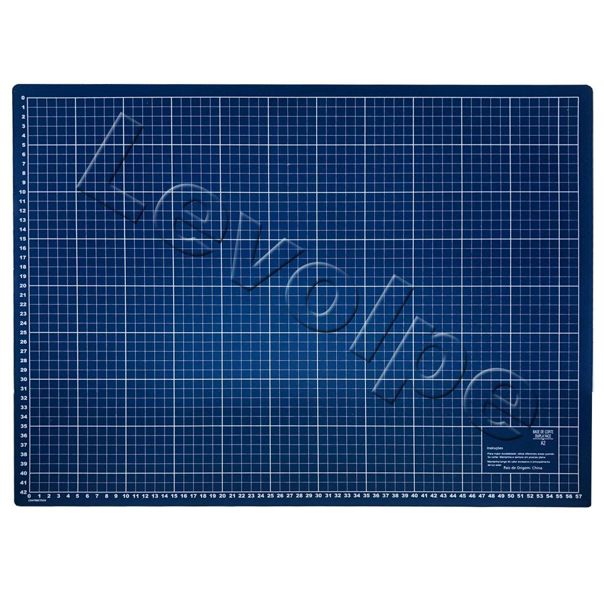 Kit Base De Corte Azul 60x45 + Regua 15x60 + Cortador 45mm + Tesouras