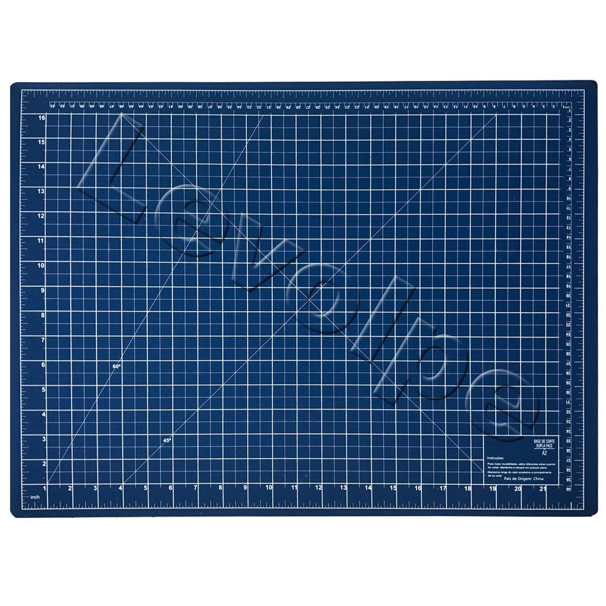 Kit Base De Corte Azul 60x45 + Régua 15x60 + Cortador 45mm + Tesouras + Alicate