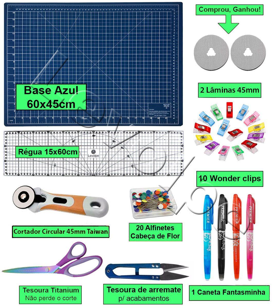 Kit Base De Corte Azul 60x45 + Régua 15x60 + Tesouras + Mini Clips