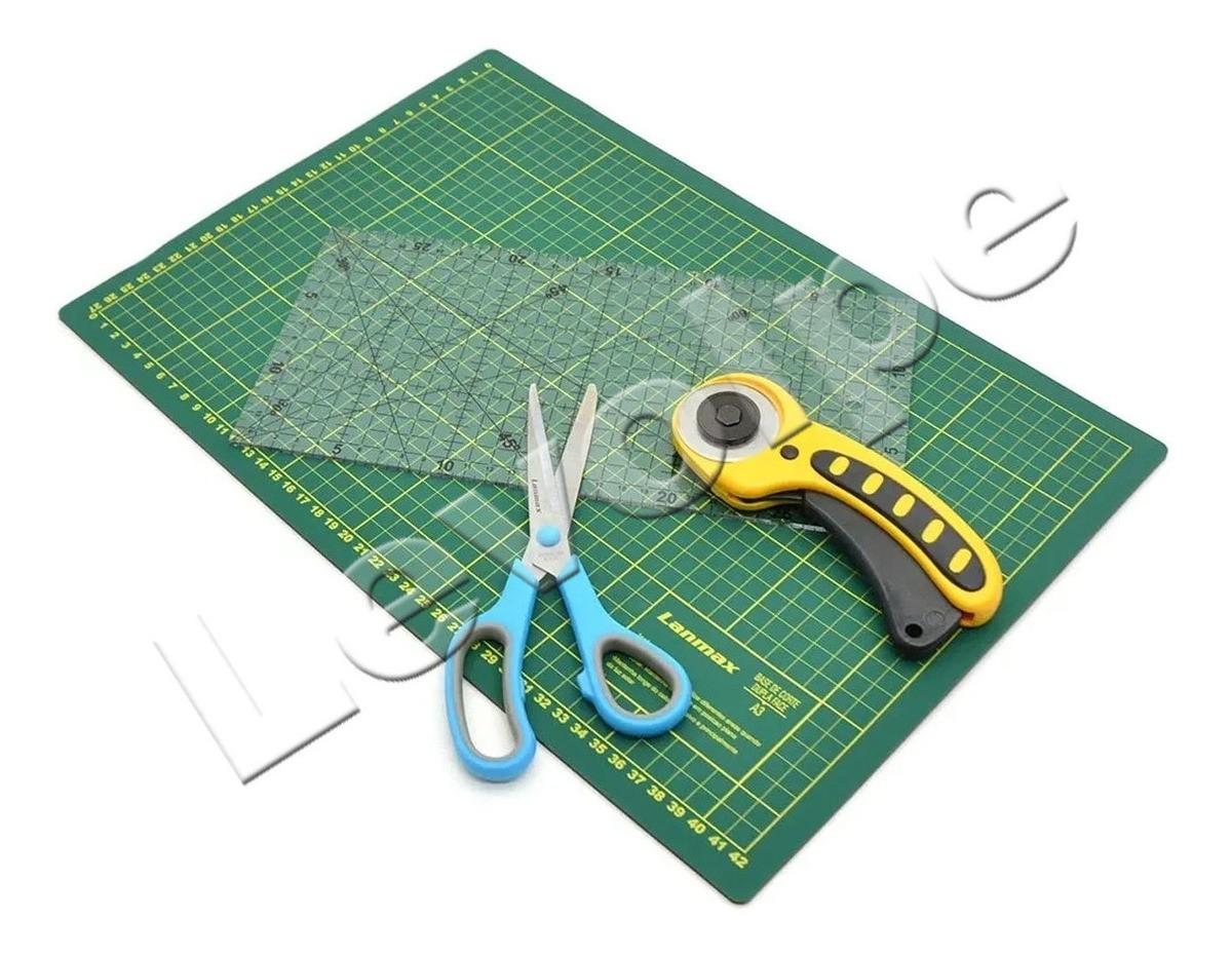 Kit Base De Corte Patchwork  Iniciante A3 45x30 + Regua 15x30 + Tesoura