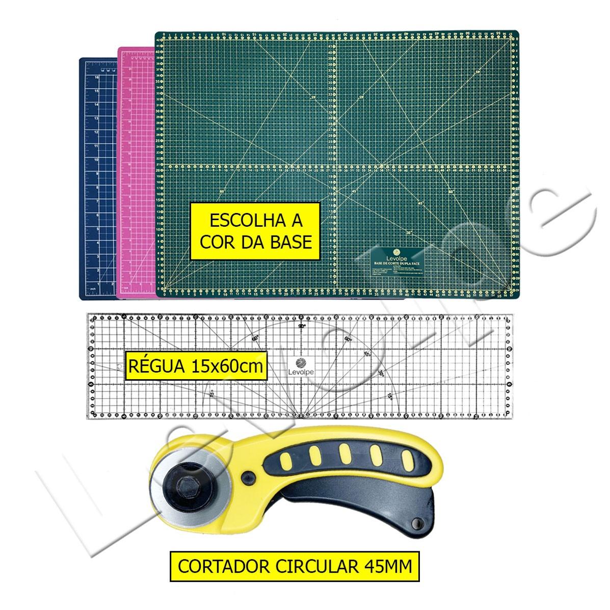 Kit Base De Corte + Regua 15x60 + 1 Cortador Circular 45mm Patchwork