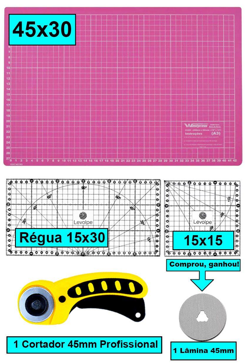 Kit Base De Corte Rosa 45x30 + Régua 15x30 + 15x15 + Cortador
