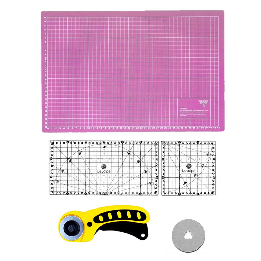 Kit Base De Corte Rosa 45x30 Régua 15x30 15x15 Cortador Circular Patchwork Scrapbook