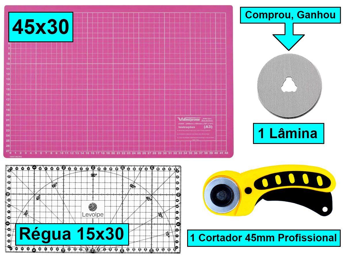 Kit Base De Corte Rosa 45x30 + Régua 15x30 + Cortador 45mm