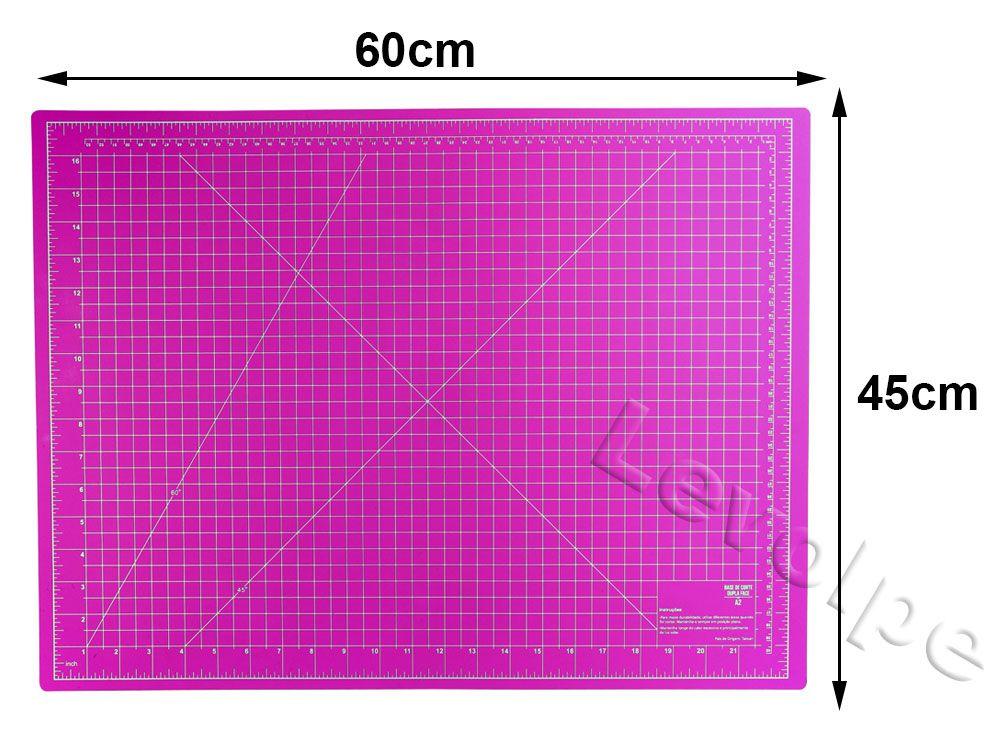 Kit Base De Corte Rosa 60x45 + Cortador 45mm + Tesouras