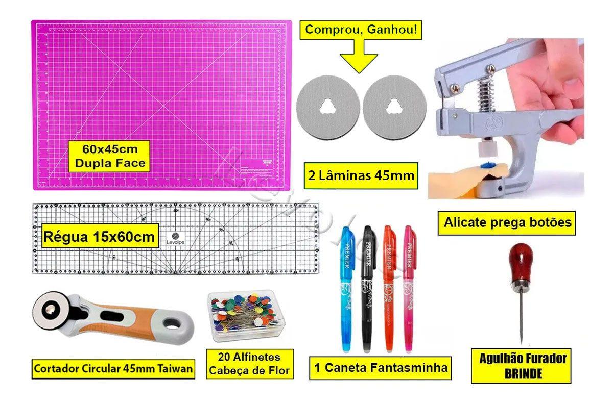 Kit Base De Corte Rosa 60x45 + Régua 15x60 + Alicate Prega Botões