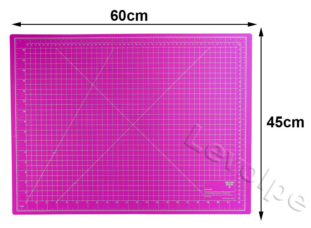Kit Base De Corte Rosa 60x45 + Régua 5x60 cm + Cortador 45mm