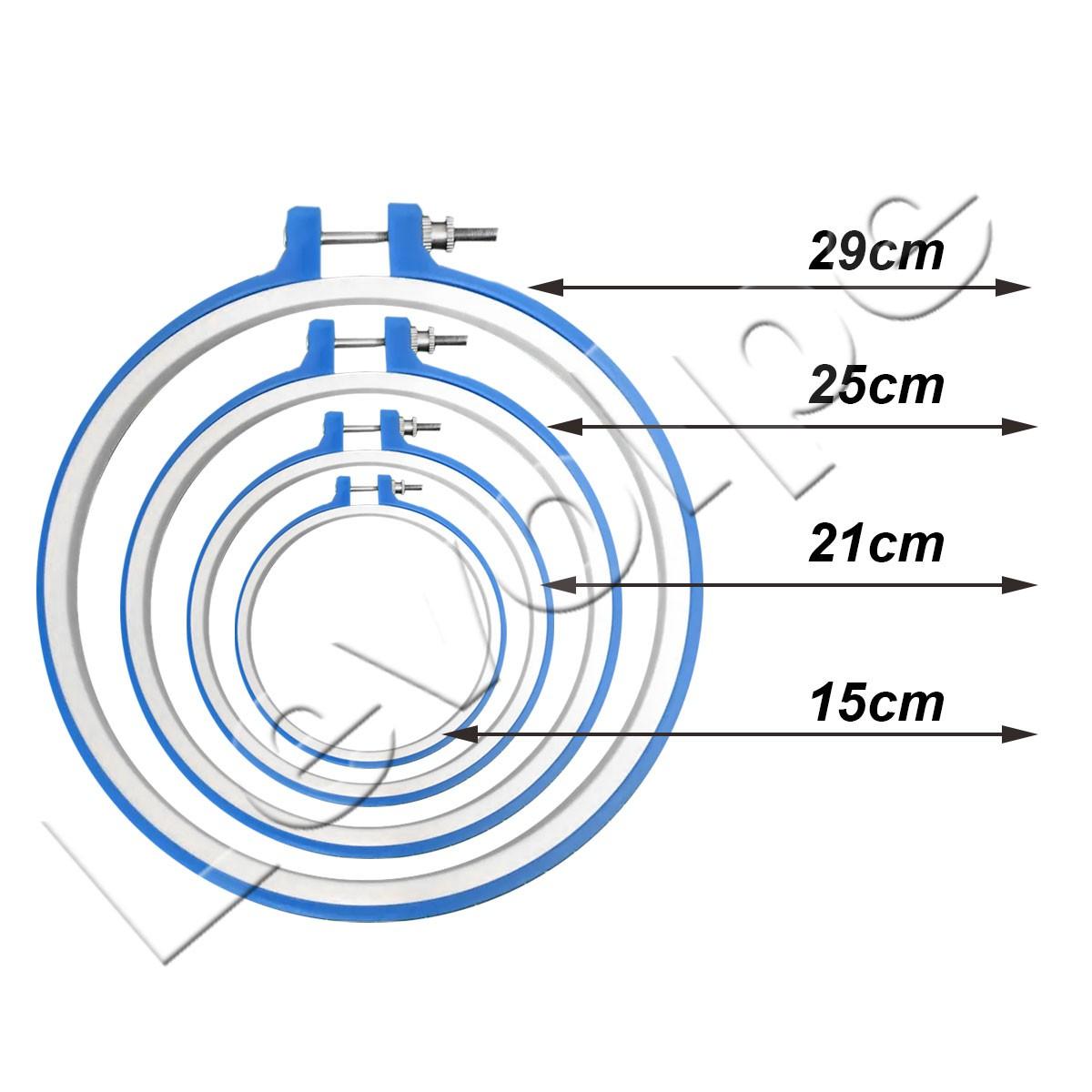 Kit Bastidor Plastico Para Bordado Com Tarraxa  - 4 Tamanhos 15cm 21cm 25cm e 29cm
