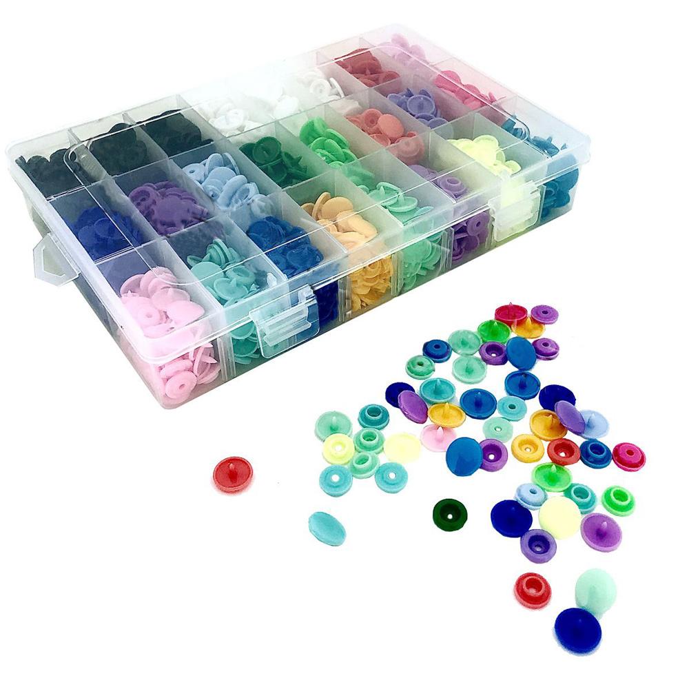 Kit Caixa 360 Botões Pressão De Plástico Tamanho 12 Mm - 20 Cores