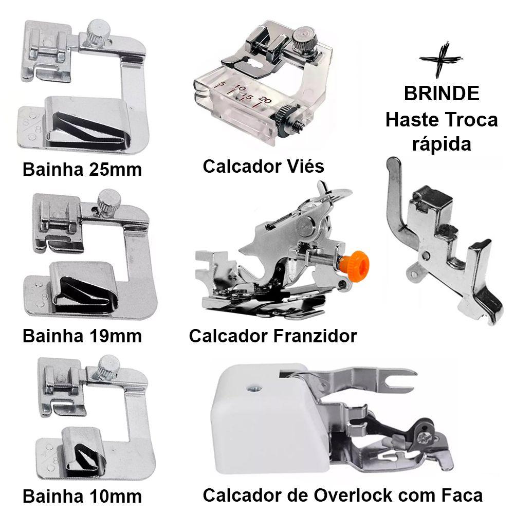 Kit Calcador Overlock + 3 Calcador de Bainha 10mm 19mm 25mm + Calcador Franzidor + Calcador de Pregar Viés