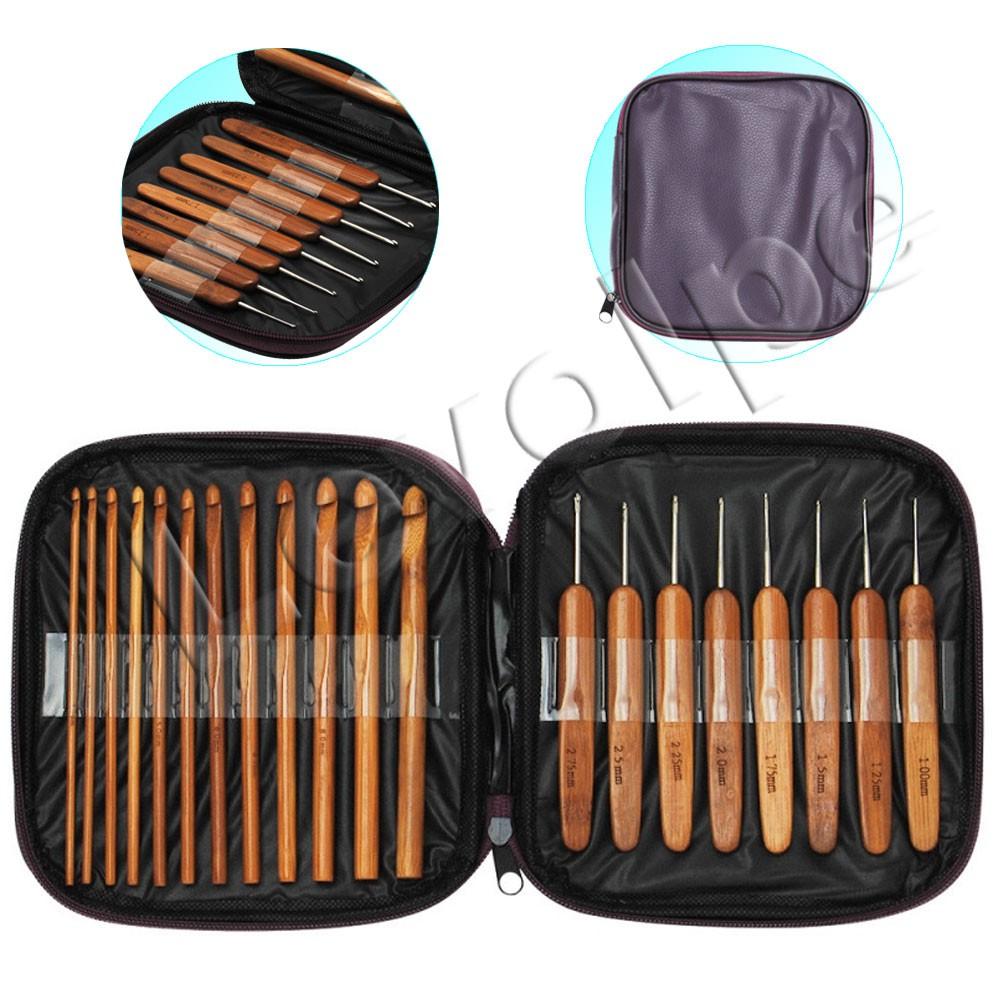 Kit Com 20 Agulhas De Crochê De Bambu Madeira Com Estojo