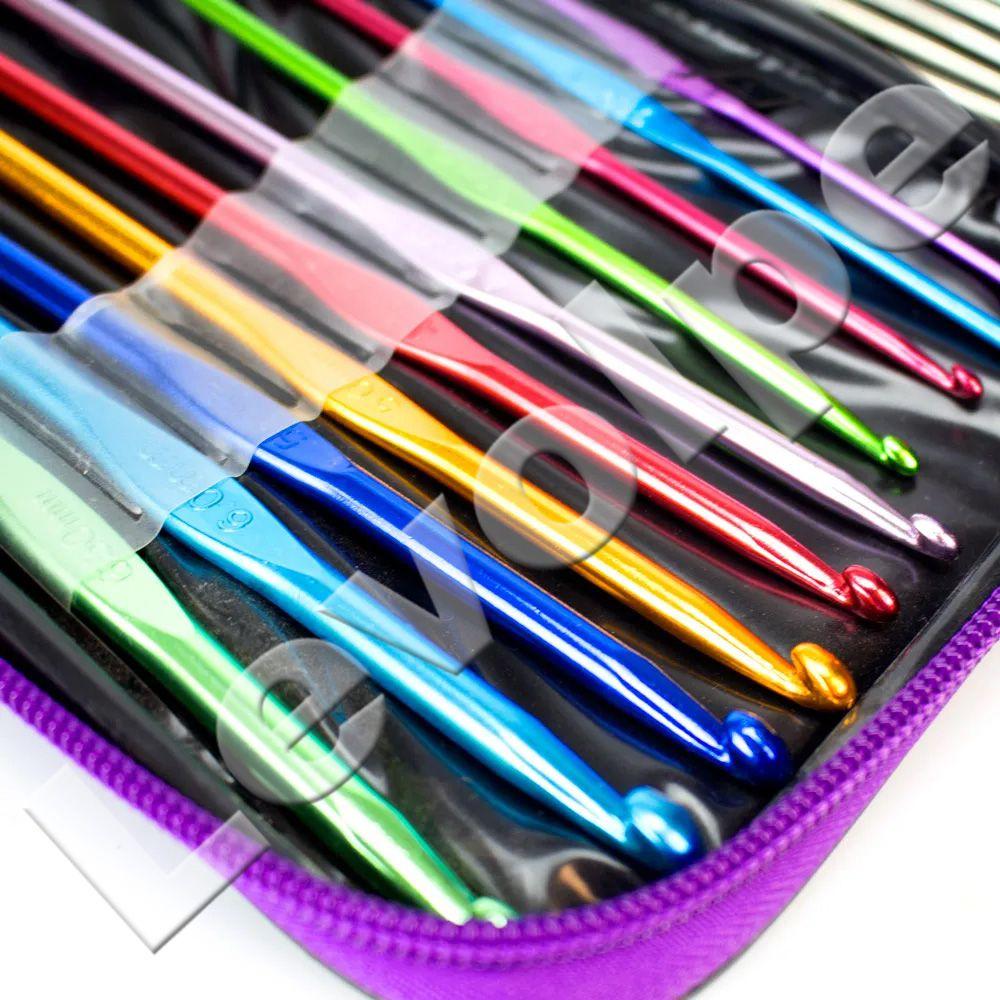 Kit Crochê 22 Agulhas Alumínio Coloridas + Estojo Case