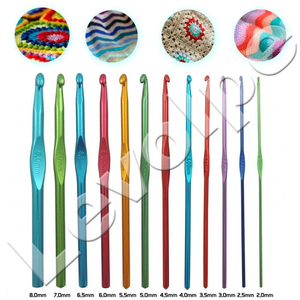 Kit De Crochê 12 Agulhas de Alumínio Coloridas