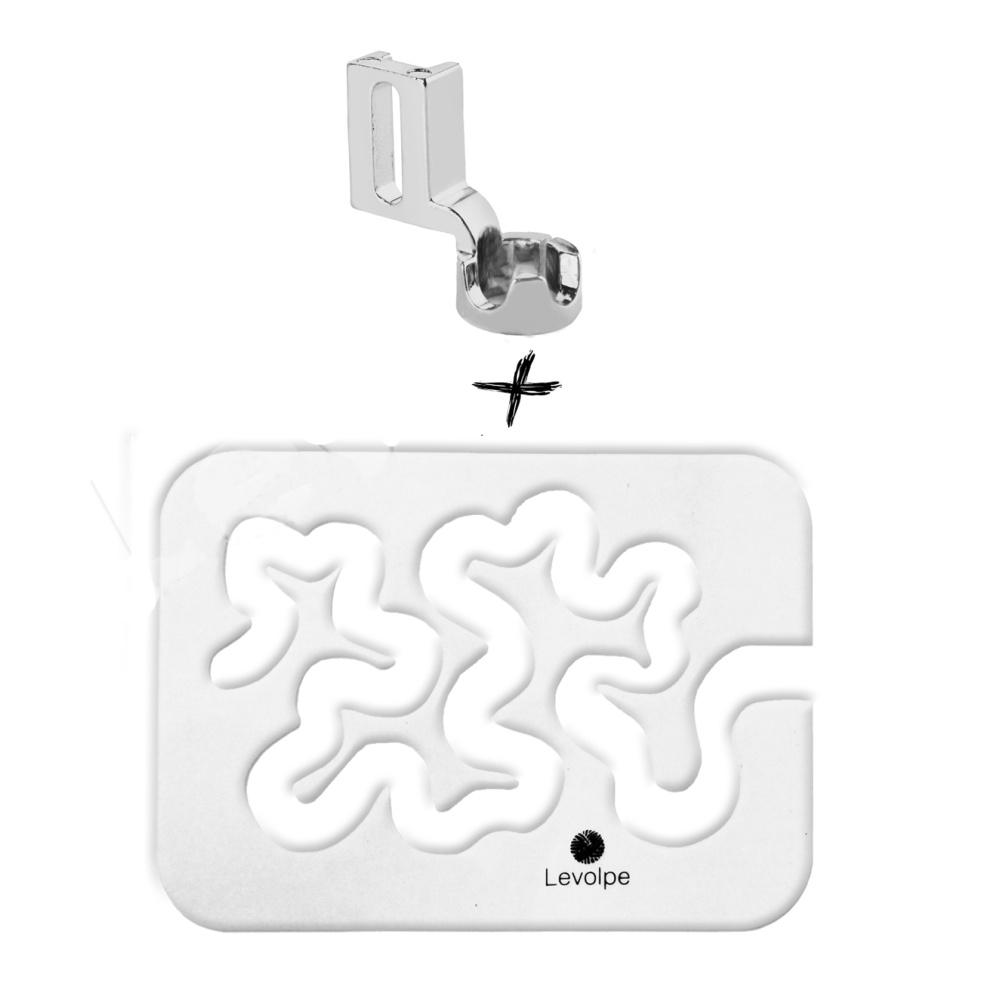 Kit Régua Quilt Livre Labirinto Caminho De Bêbado Transparente + Calcador Entre Réguas