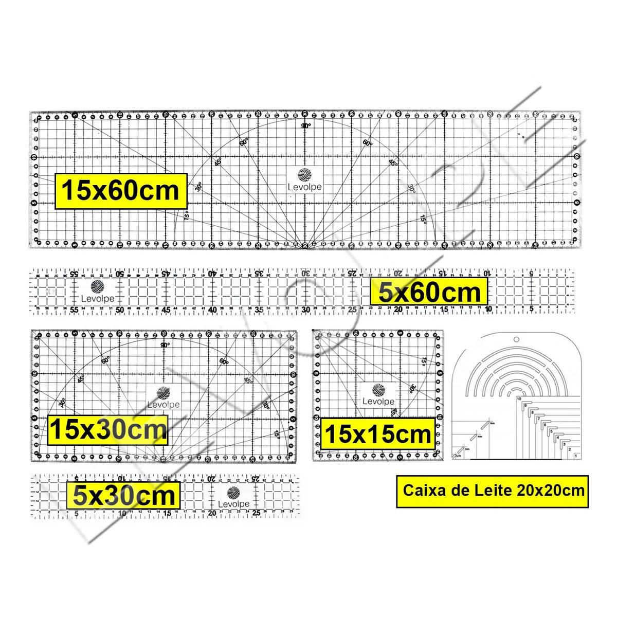 Kit Réguas 15x60 15x30 5x60 5x30 15x15 Caixa De Leite Patchwork