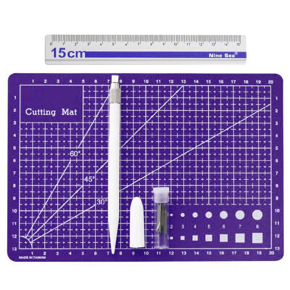 Kit Scrapbook Base De Corte A5 Régua Metal 15cm Estilete Papelaria Criativa
