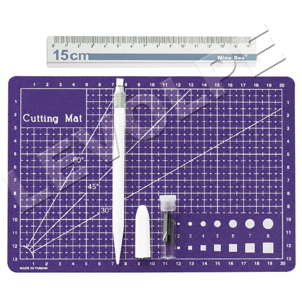Kit Scrapbook Base De Corte A5 + Regua Metal 15cm + Estilete