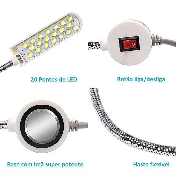 Luminária Lampada 20 Led Haste Flexível Maquina Costura