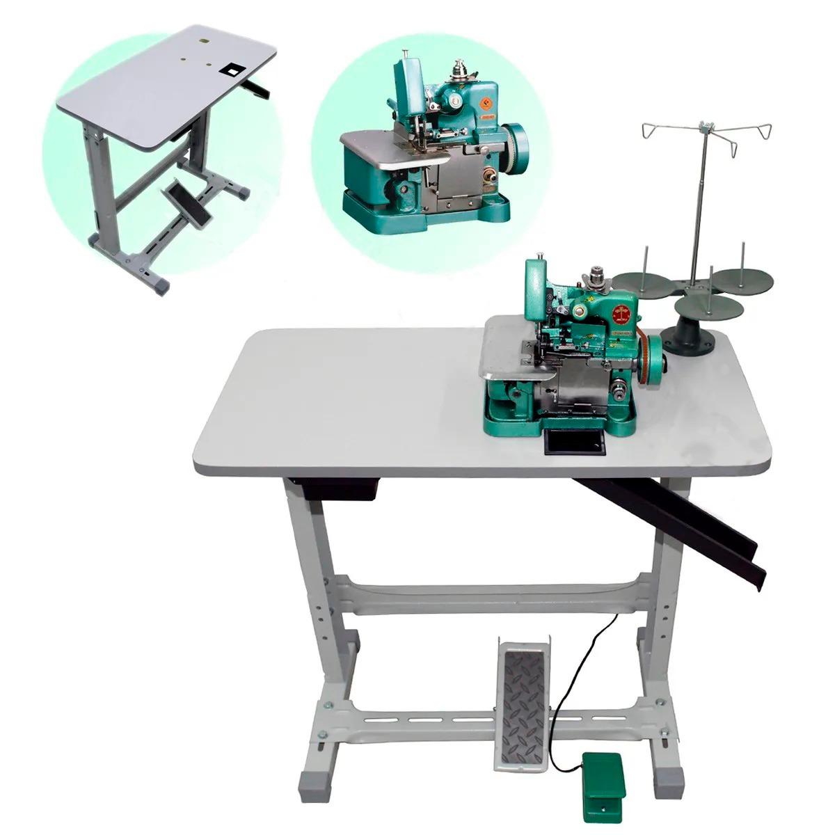 Maquina Costura Semi Industrial Overlock GN1-6D Com Mesa