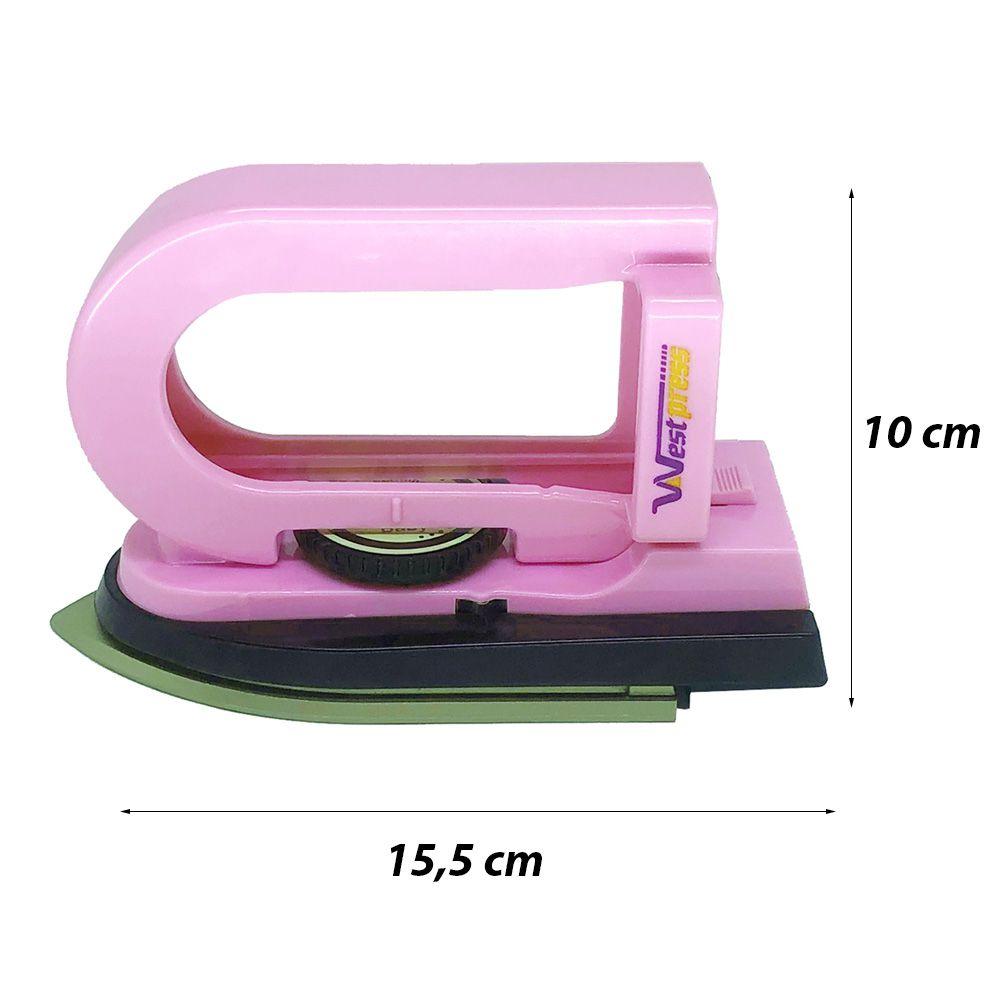 Mini Ferro De Passar West Baby Rosa + Mini Tabua Patchwork