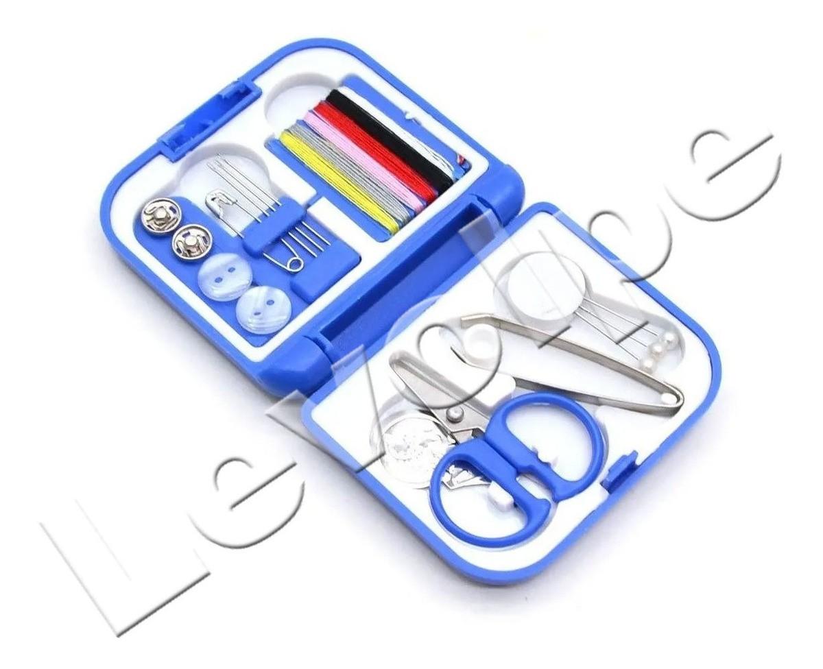 Mini Kit De Costura Para Viagem Mão Agulha Linha Tesoura - Azul