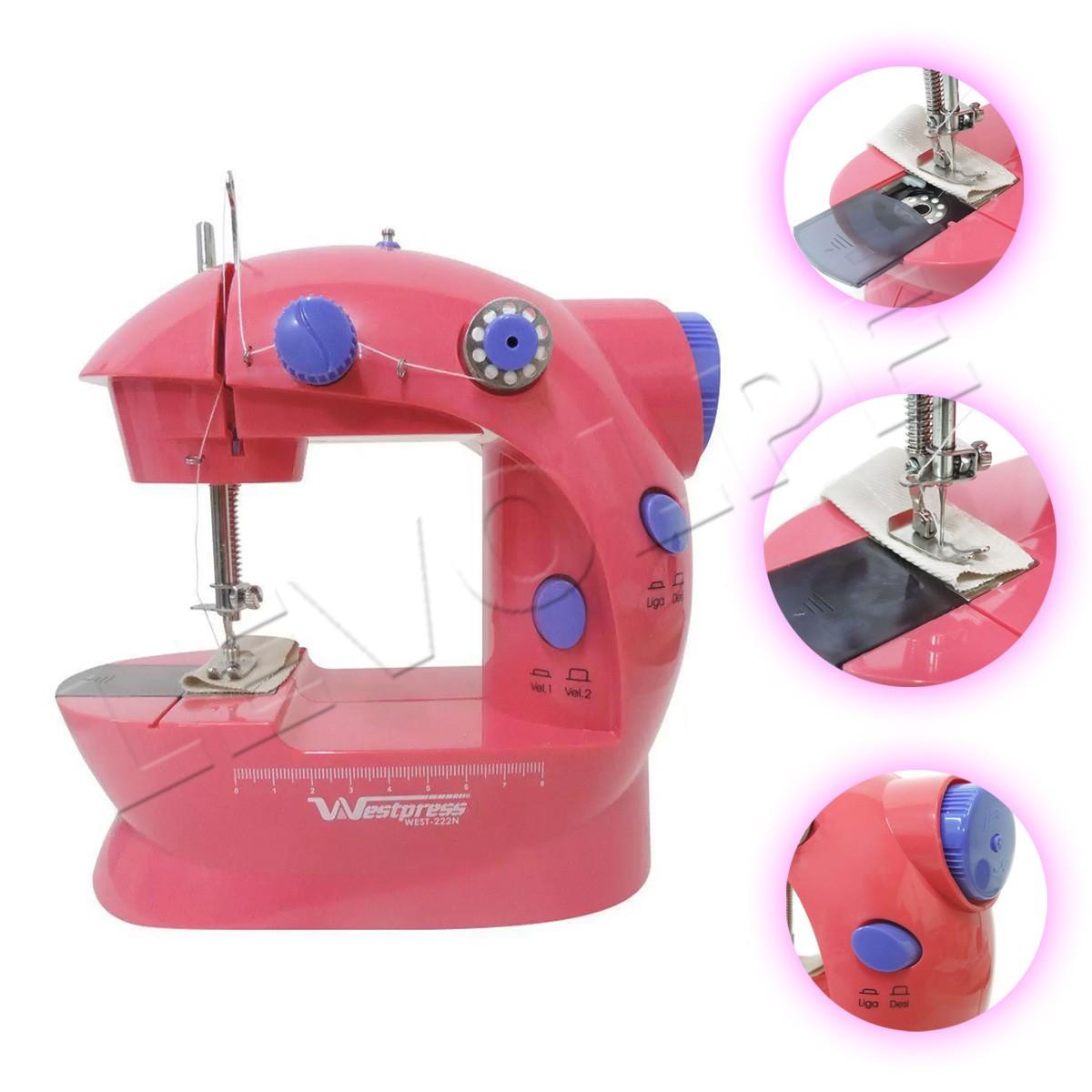 Mini Maquina Rosa De Costura Elétrica Portátil Bivolt
