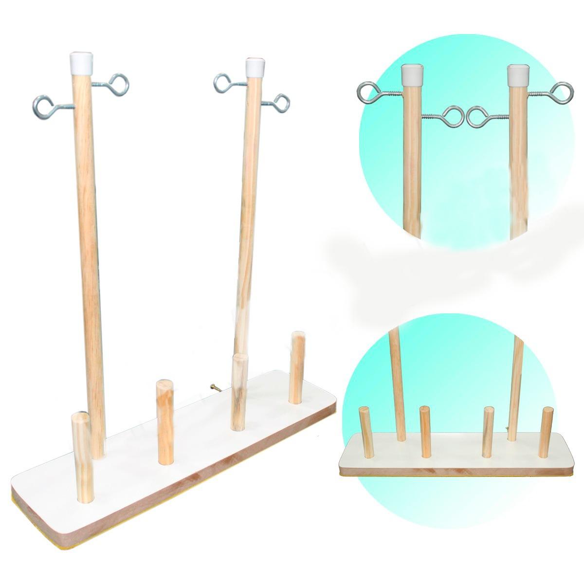 Porta Fio De Madeira 4 Cones Para Máquina Costura Doméstica