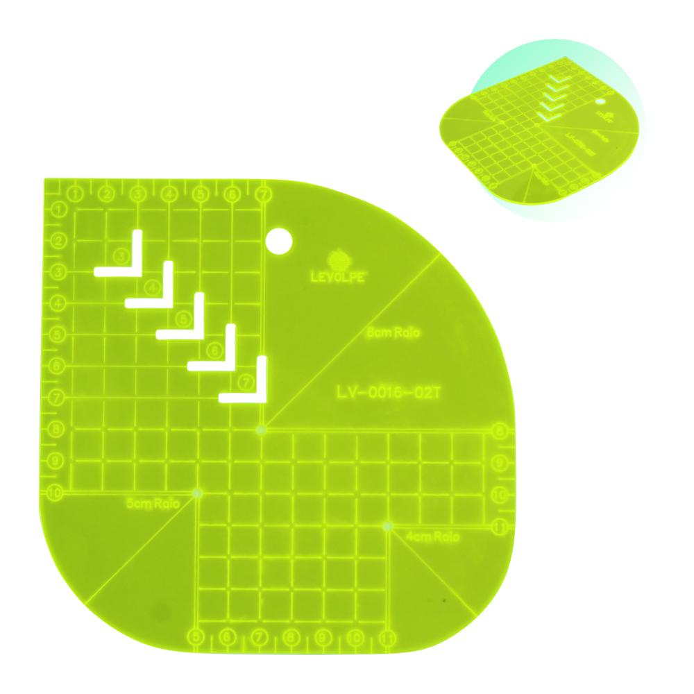 Régua Caixa de Leite Gabarito Curva Quadrado 15x15cm Verde