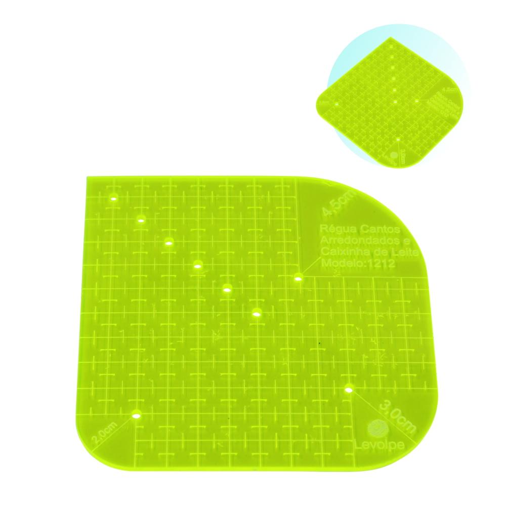 Régua Cantos Arredondados e Caixa de Leite 12x12cm Verde