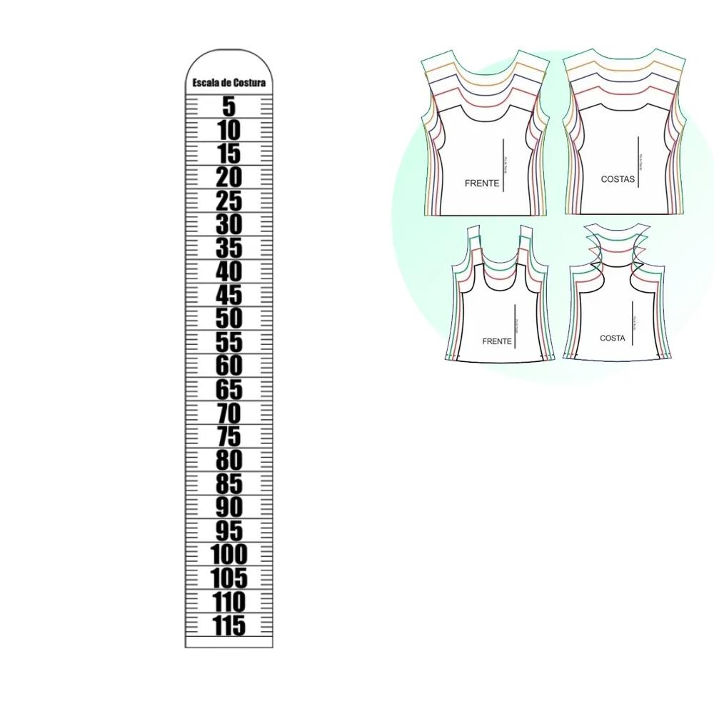 Régua Corte Escala De Costura 1/2 em Acrílico Transparente