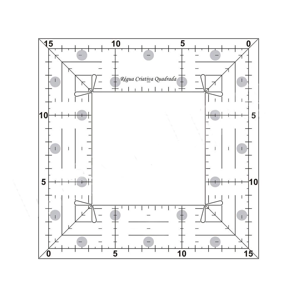 Régua Criativa Quadrada Em Acrílico Para Patchwork 15x15cm