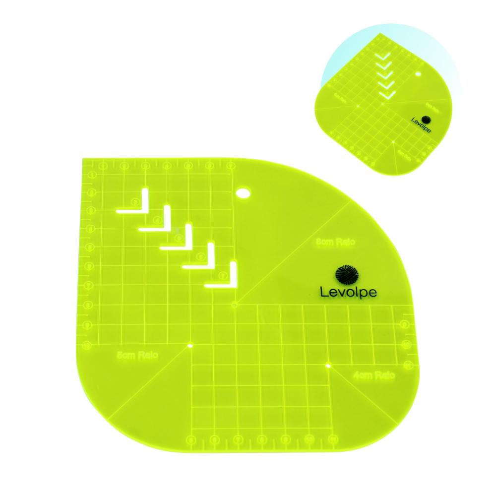 Régua Gabarito Curvas Quadrado Caixa Leite 15x15 Verde