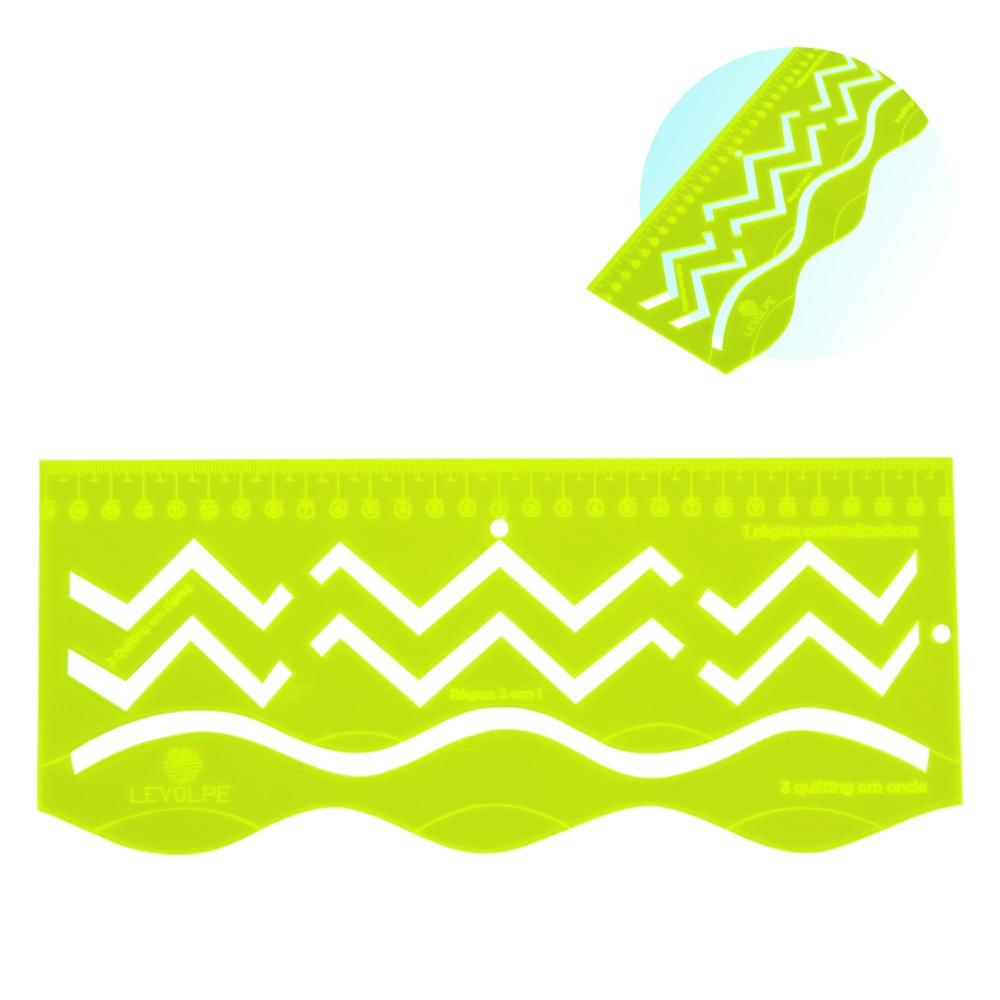 Régua Gabarito Quilting 3 em 1 Ondas Zigzag Centralizadora Verde