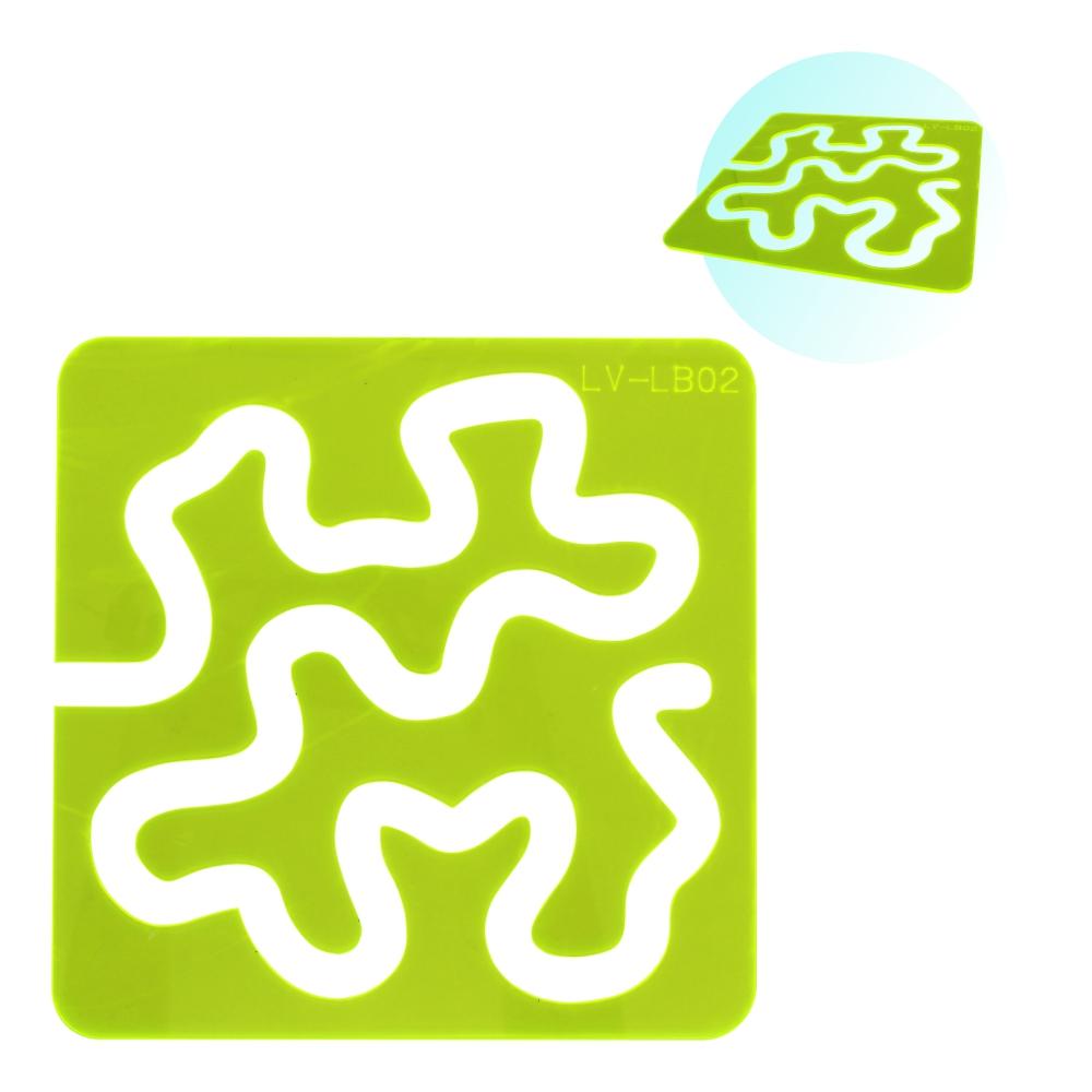 Régua Gabarito Quilting Labirinto Caminho De Bêbado 21cm Verde