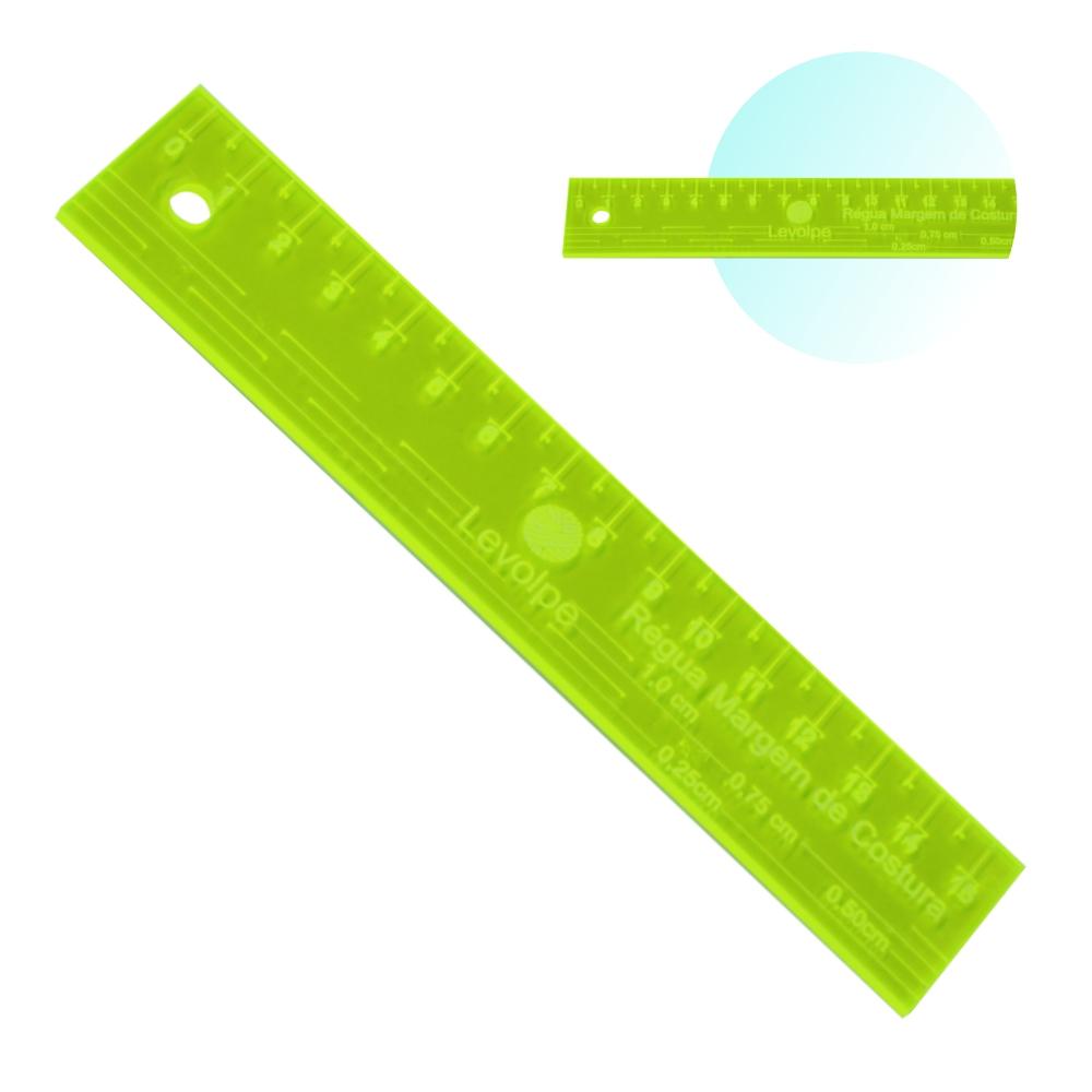 Régua Margem Costura 15cm Costura Patchwork Scrapbook Verde