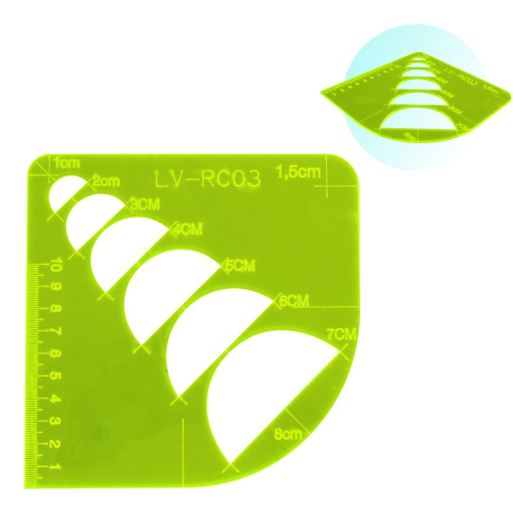 Régua Multiplas Curvas Costura Patchwork Scrapbook Verde