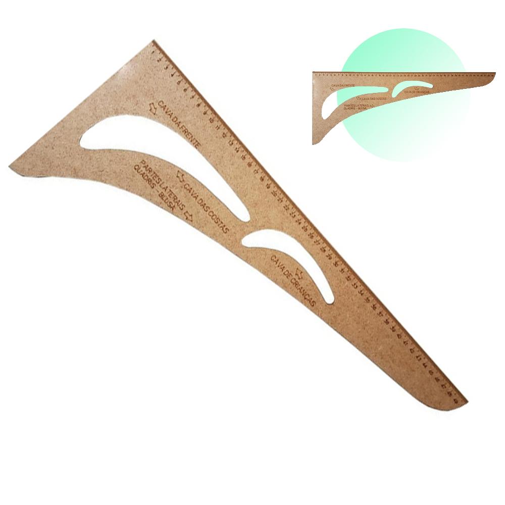 Esquadro 50cm Modelagem Cavas Confecção 0509 50x21cm Mdf