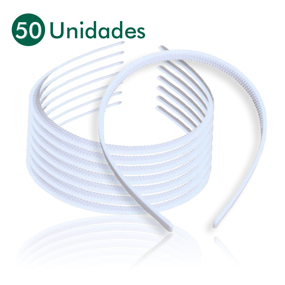 Tiaras Arco Plástico Dentinho Branca 50 Unidades Artesanato