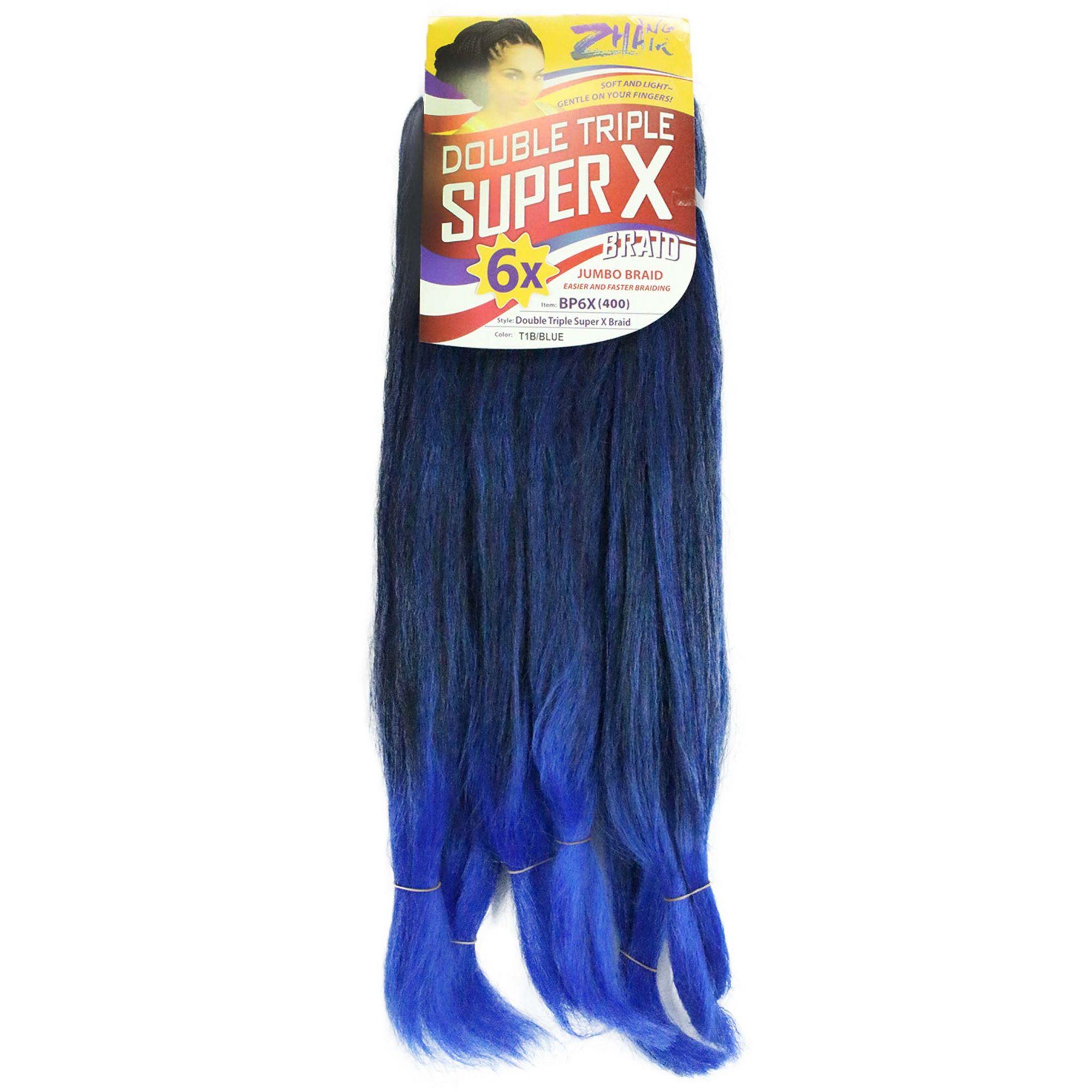 Cabelo Sintético - Zhang hair jumbo - Super X (400g) - Cor: Preto com Azul (T1B/Blue)