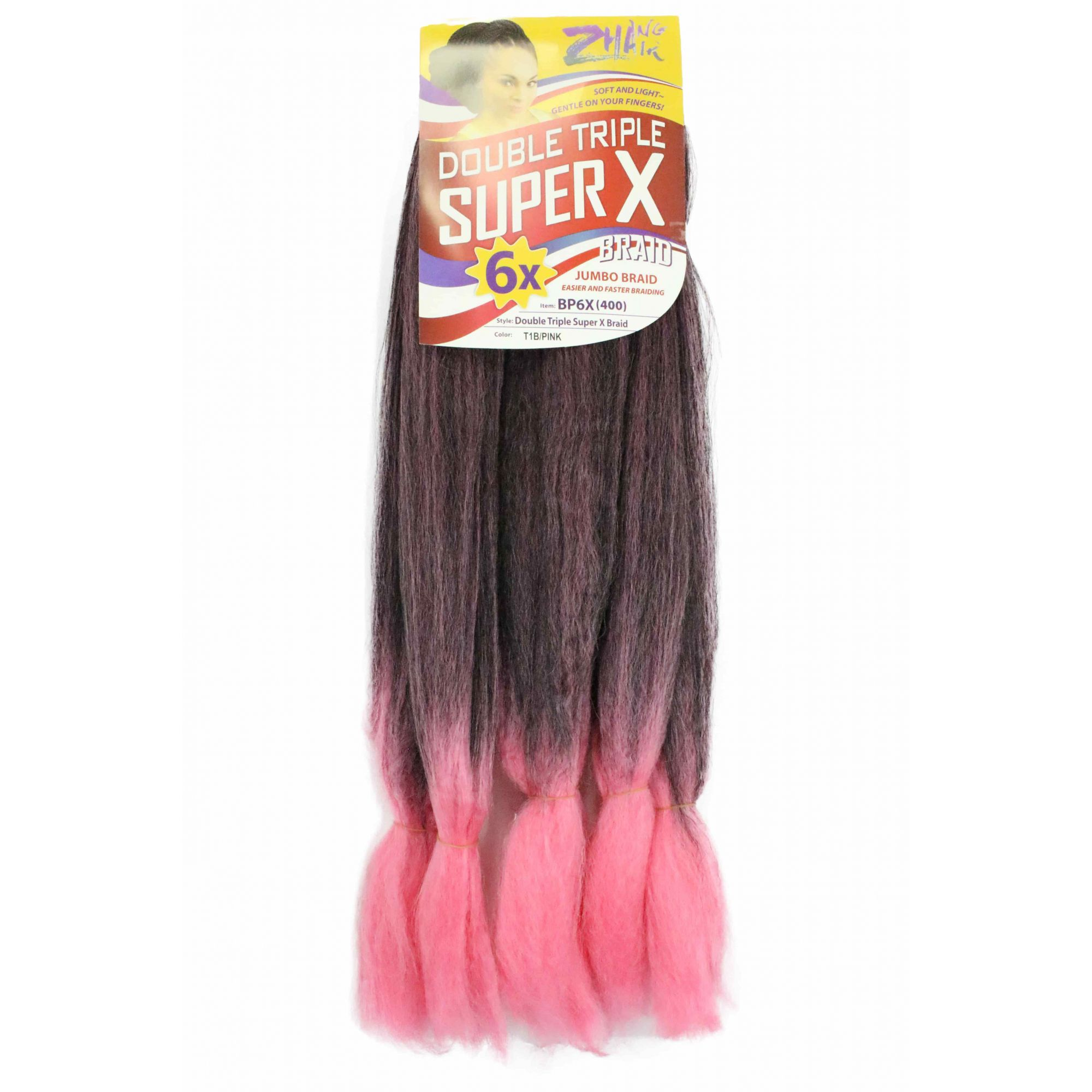 Cabelo Sintético - Zhang hair jumbo - Super X (400g) - Cor: Preto com Rosa (T1B/Pink)