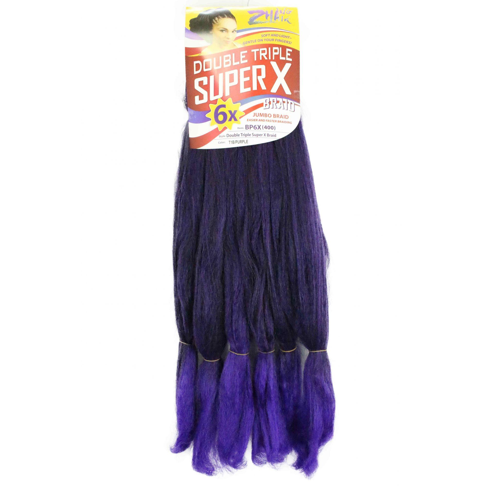 Cabelo Sintético - Zhang hair jumbo - Super X (400g) - Cor: Preto com Roxo (T1B/Purple)