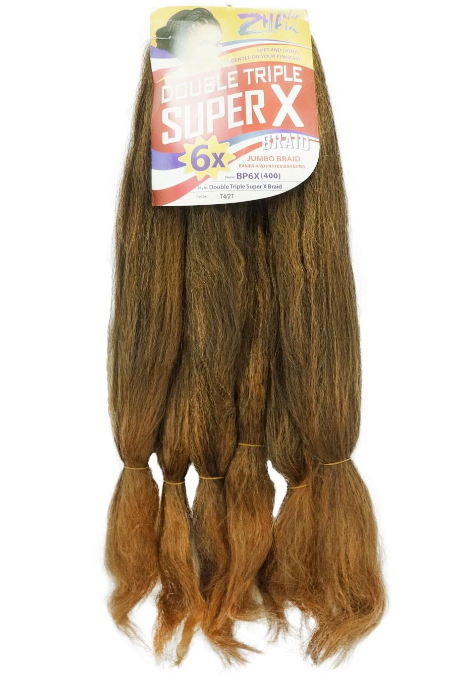 Cabelo Sintético - Zhang hair jumbo - Super X (400g) - Cor: Castanho com Mel (T4/27)